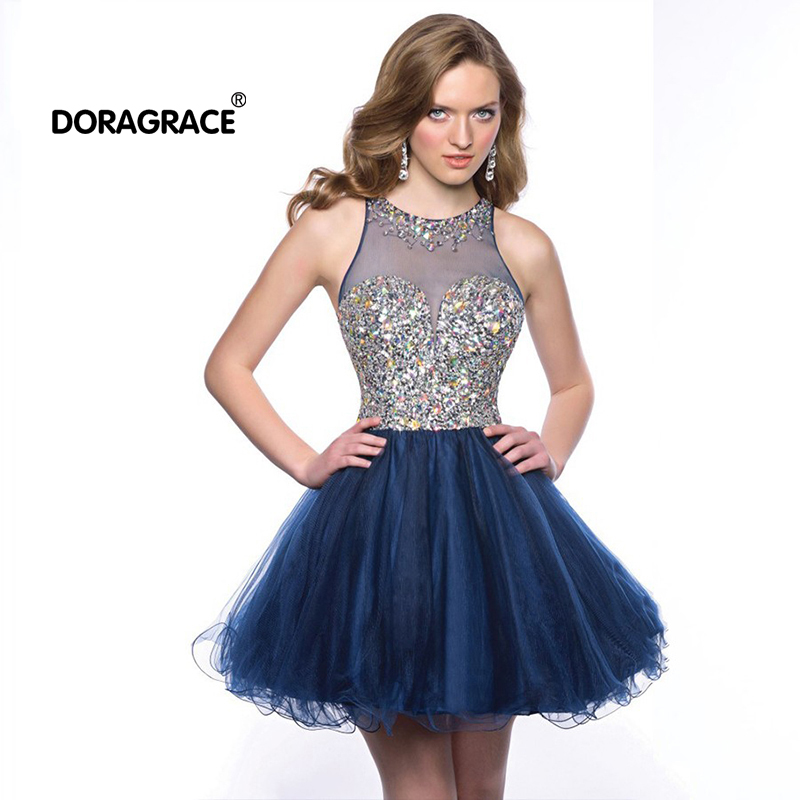 Robes de soirée Doragrace robe de soirée courte en Tulle Mini robe de Cocktail robes de Cocktail en cristal robes de soirée