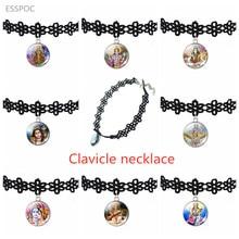 Hollow Designs Choker Necklace Black Lace Velvet Strip  Lord Shiva Amulet Pendant Vishnu Lakshmi Charm Necklaces