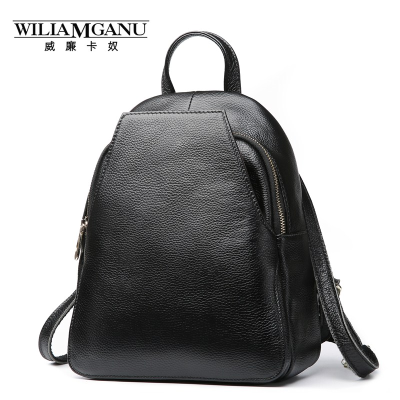 WILIAMGANU Top Genuine Leather Backpack for teenage girls bag Female backpack Multifunction women backpacks black gray 0880 zency genuine leather backpacks female girls women backpack top layer cowhide school bag gray black pink purple black color