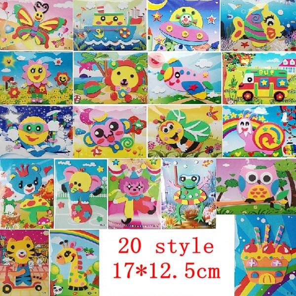 20pcs 3d Eva Handmade Puzzles Magical Diy Children Hand Art Sticker
