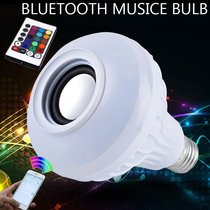 Smart RF Wireless IR Remote RGB E27 LED 6W 220V Multicolor Light Bluetooth Control Music Audio Speaker E27 Color LED Bulb Lamp wireless e27 bluetooth remote control mini smart led audio speaker rgb 9 color light warm bulb music lamp car styling