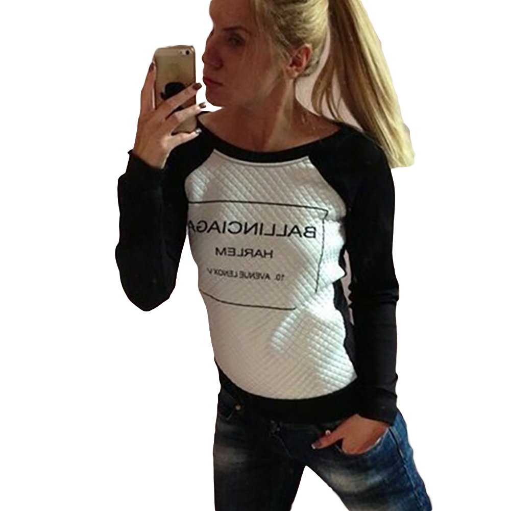 Spring Autumn Long Sleeve Casual Sweatshirts Women Letter Print Hoodies Moleton Feminine S-xl White Black Fashion Women Hoodies