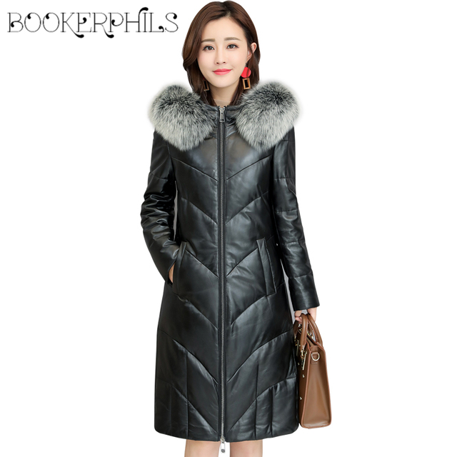 ff0384e8dfd 2018 Winter Leather Jacket Women Down Jacket Long Parkas Hooded Waterproof  Faux Fox Fur Collar Winter