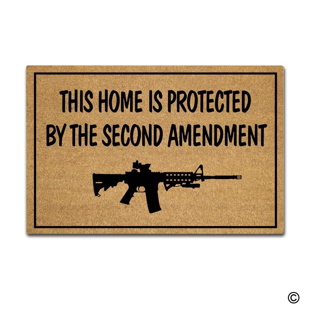 MsMr Doormat Entrance Floor Mat This Home Is Protected By The Second Amendment Decorative Door Mat Entry Way Mat Non-woven ...