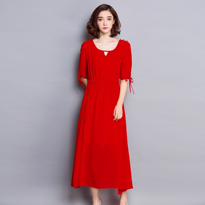 2017 Spring And Summer Short Sleeve Chiffon Maxi Dress Female Fat Mm Plus Loose Solid Early Autumn Women's Dress Was Thin BL80