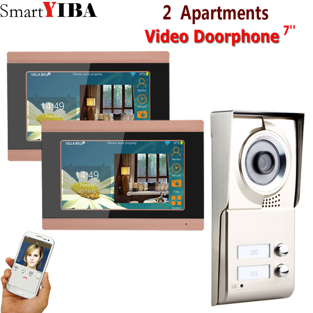 SmartYIBA 7inch Record Wireless Wifi 2 Apartments Video Door Phone Intercom System IR-CUT HD 1000TVL Camera Doorbell Camera