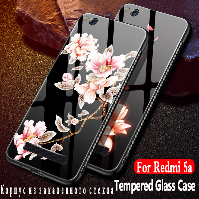 finest selection d4994 24b84 US $7.99 |KBUBYT For xiaomi redmi 5A case redmi 5A cover armor Silicon  Frame + Tempered Glass Back Cover For xiaomi redmi 5A 3d flowers 5
