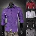 2016 Nueva Promoción de La Llegada de La Manera Ocasional Sólido Diseño de la Raya Cómoda de Moda Para Hombre de Negocios Camisa de Vestir 6 Colores 6 Tamaños 8384