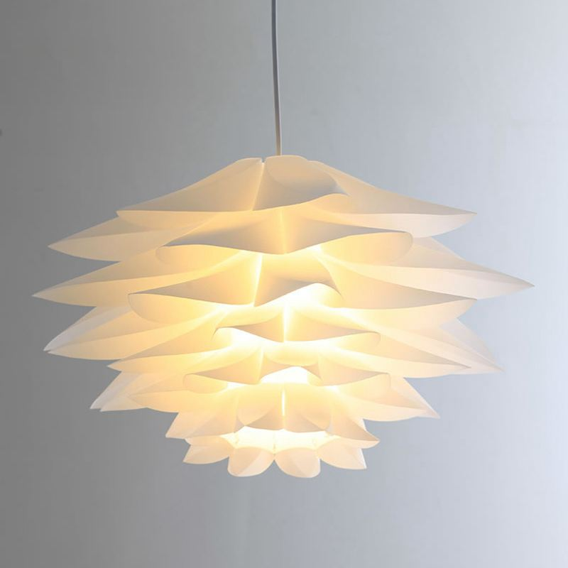 White Plastic Lotus Diy Corridor Pendant Light Creative
