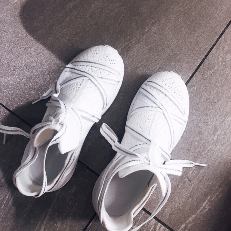2019 new strap sneakers shoes women 39 s flat top breathable mesh flour shoe tide platform white shoes sneakers Solid Yasilaiya in Women 39 s Vulcanize Shoes from Shoes