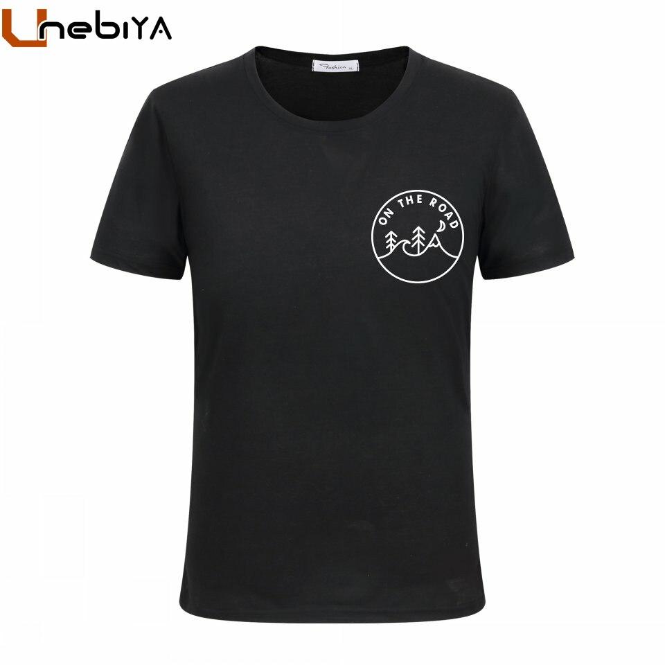 Unebiya Время приключений на дороге Mountain футболки с принтом Для мужчин лето Hipster плюс Размеры свободная футболка человек полиэстер футболка