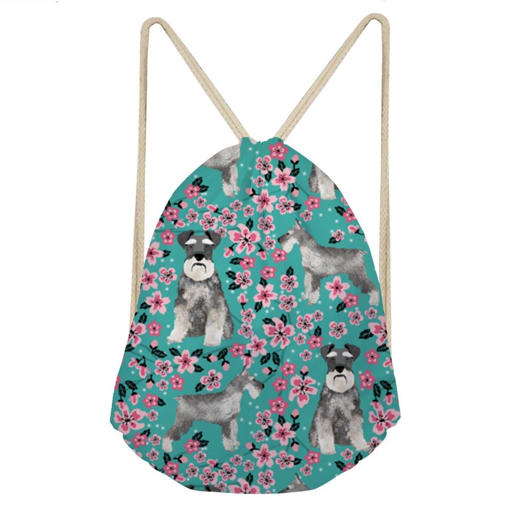 ELVISWORDS 3D Printing Schnauzer Drawstring Bag Pink Flower Backpack Casual Girls Knapsack Storage Bags For Shoe Travel Mochila