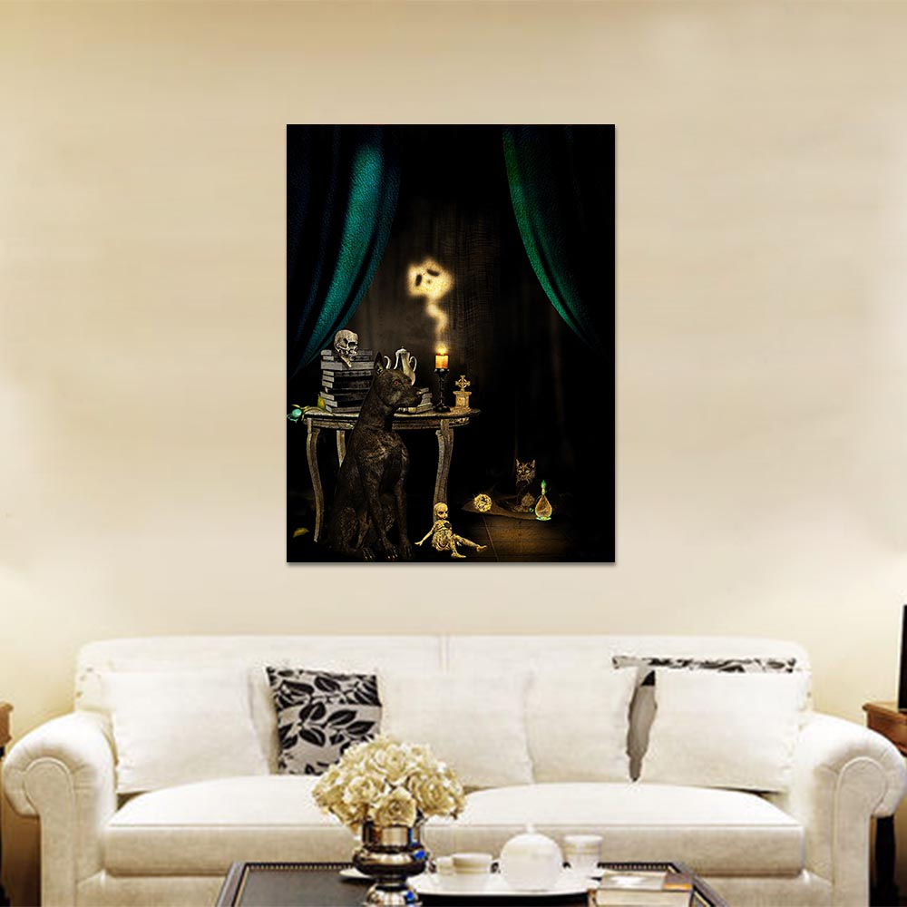 Unframed Canvas Prints Gothic Black Dog Skull Candle Prints Wall Pictures For Living Room Wall Art Decoration Dropshipping