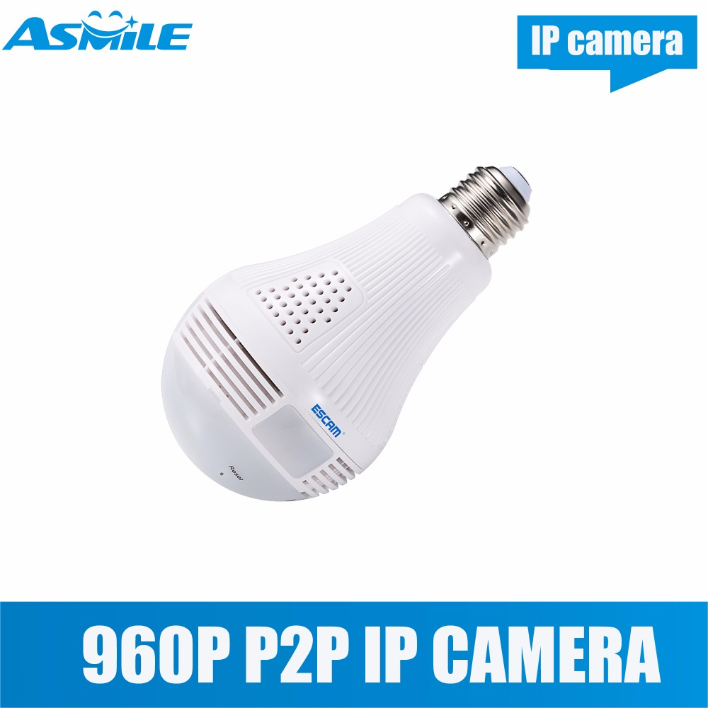 H.264 ESCAM QP136 HD 960P WIFI Security Camera Infrared support H.264 and P2P escam qp136 960p bulb wifi ip security camera 360 degree panoramic h 264 infrared indoor motion detection ip camera