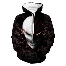 Bleach Hooded Black 2018 Winter Hot Sale Mens Fashion Cool Printing and White 3D Mask Sweatshirt Pocket pullover