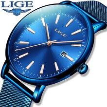 цены на Relojes Hombre Blue Mens Watches LIGE Top Brand Casual Fashion Stainless Steel Waterproof Quartz Watch Men Luminous Sports Clock  в интернет-магазинах