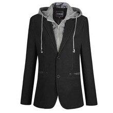 New Fashion Autumn Winter Suit Blazer Men Casual Designs Suit Jacket Hooded Detachable Fake 2 PCS Blazer Man Clothes