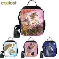 Fantasy Chic Unicorn Print Portable Lunch Bag Cooler Food Picnic Bags Thermal Insulated Canvas Lunch Box Tote Bag