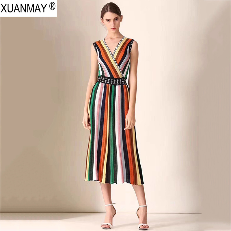 Été gilet robe 2019 sur le genou couleur bande longue style Boho Dress élégante maxi robe Sexy Slim pull veste Dress Femme