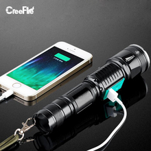 Newest Professional USB Rechargeable The Best Super Lighting 5 Modes CREE XML-T6 LED Flashlight Zoomable Torch Light