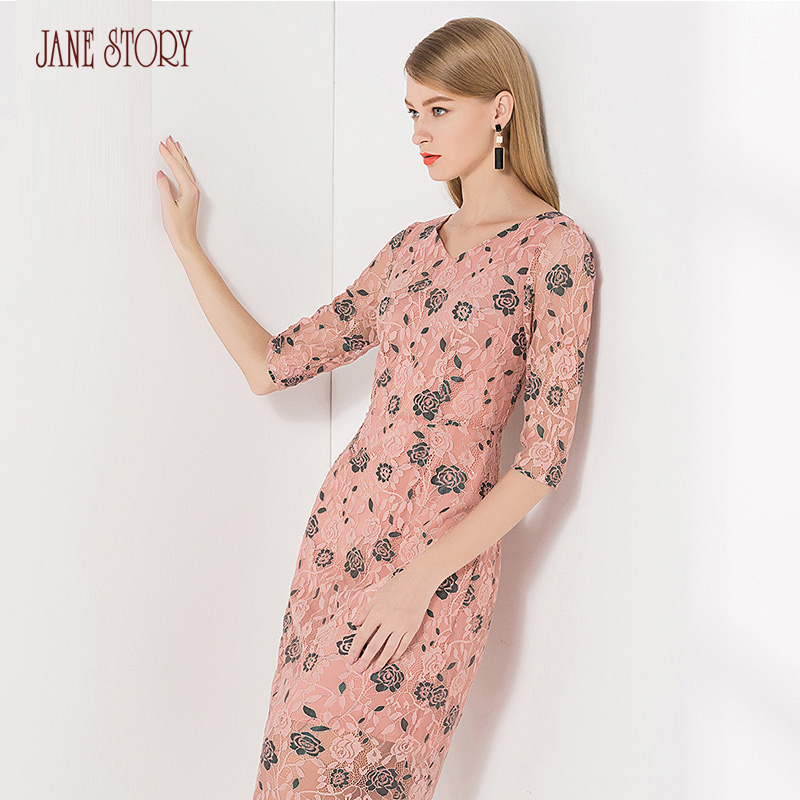 Jane Story 2018 Autumn Women Dress Half Sleeve V Neck Floral Print Lace Dress Elegant Show Body Open Jag Back Office Lady Dress ...