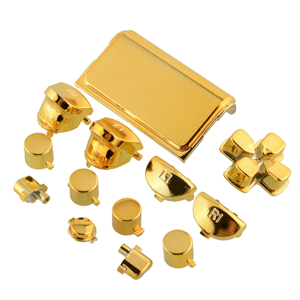 For Playstation 4 Fashion Gold Full Buttons Mod Kits Set Chrome for PS4 Controller Joystick Video Game Accessories