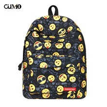 Ou Mo brand Cartoon Smile Face laptop man backpack computer bag anti theft Women school Bag teenagers travel Backpack