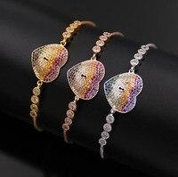 Ol stijl charms verstelbare armbanden micro pave premium kleurrijke kleuren rhinestone kristallen keyhole hart armband voor vrouwen