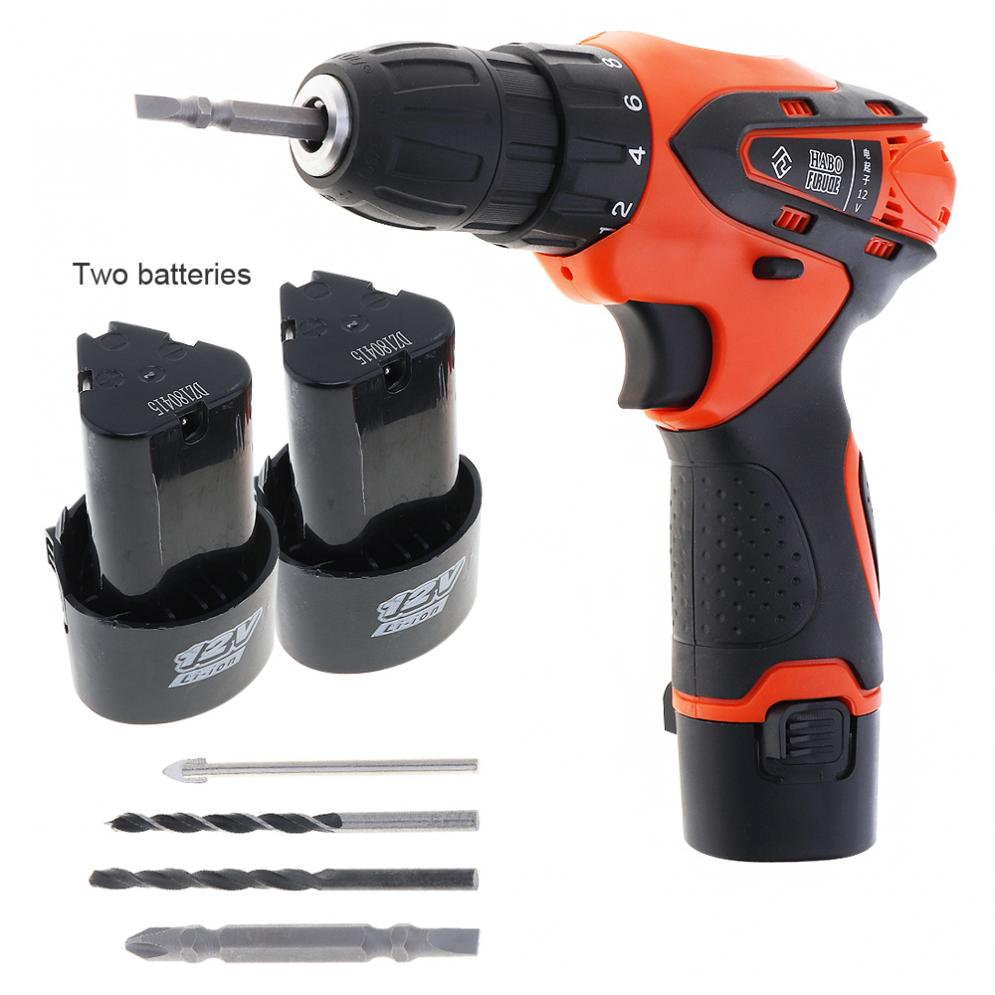 цены AC100-240V Handling Screws/Punching Cordless 12V Electric Screwdriver with 2 Lithium Batteries and Rotation Adjustment Switch
