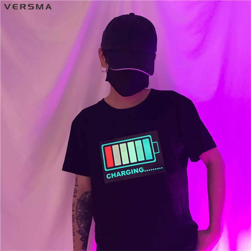 VERSMA корейский Harajuku светодиодный контроль звука светящаяся одежда футболки мужские летние ночной клуб хип хоп свободные парные футболки для мужчин и женщин