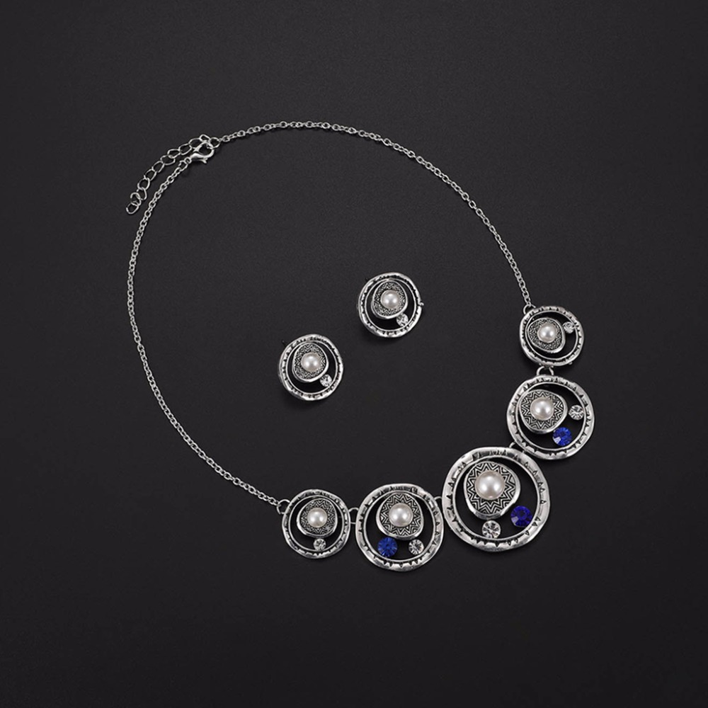 Fashion 1 Set Delicate Earrings Necklace Women Jewelry Pearl Pendant Luxury Wedding Noble Jewelry Sets Gifts