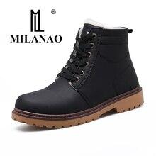 2017 MILANAO Для мужчин зимняя теплая обувь водонепроницаемые Зимние ботинки для мужчин среднего трубка хлопок внутри прогулочная обувь размер 39-44