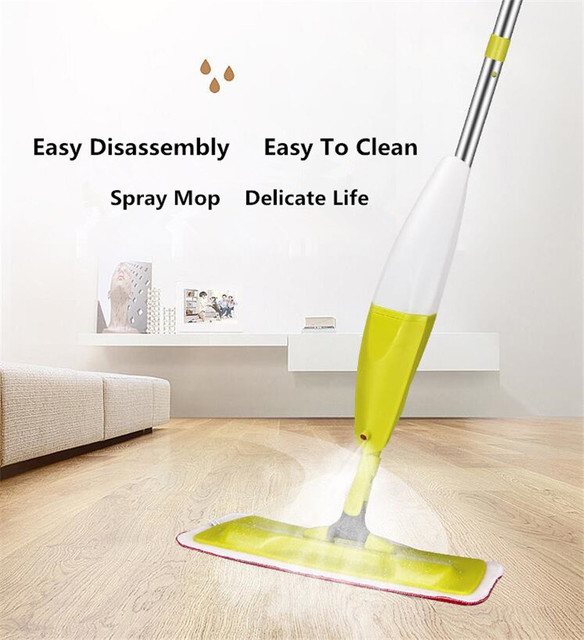 2 In 1 Spray Mop Home Wooden Floor Cleaner Dry And Wet Cloth Head