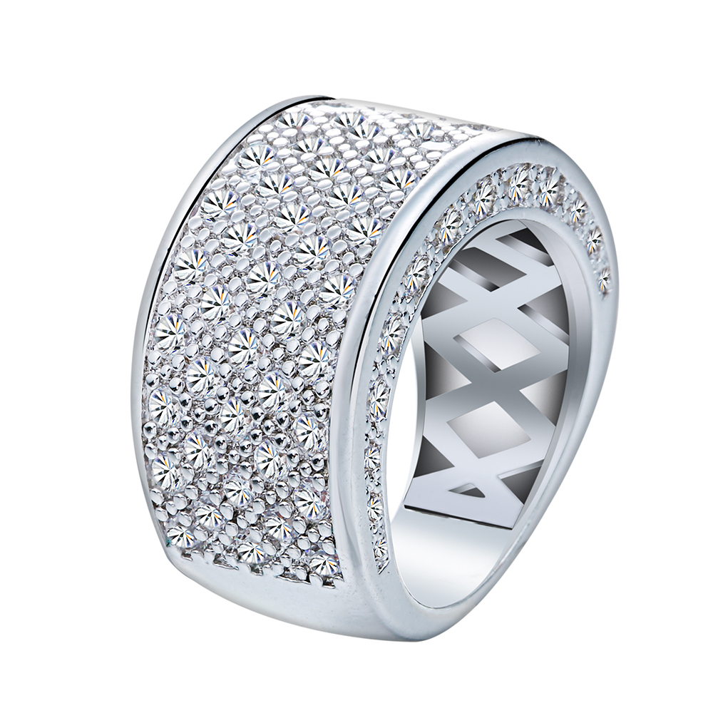 Fashion Zirconia Stone silver plated Round Circle Wedding Rings for Women Engagement Girls Valentines Gift Beautiful Jewelry