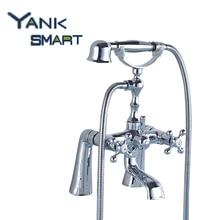Torneira двухслойные настенное крепление Водопад Носик Ванная комната хром двойные ручки бассейна раковина смеситель кран