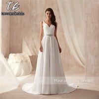 V neck Beading Center Matte Satin Wedding Dress Under 70 Simple Style A line Bridal Dress Beach Marry Gowns vestido noiva