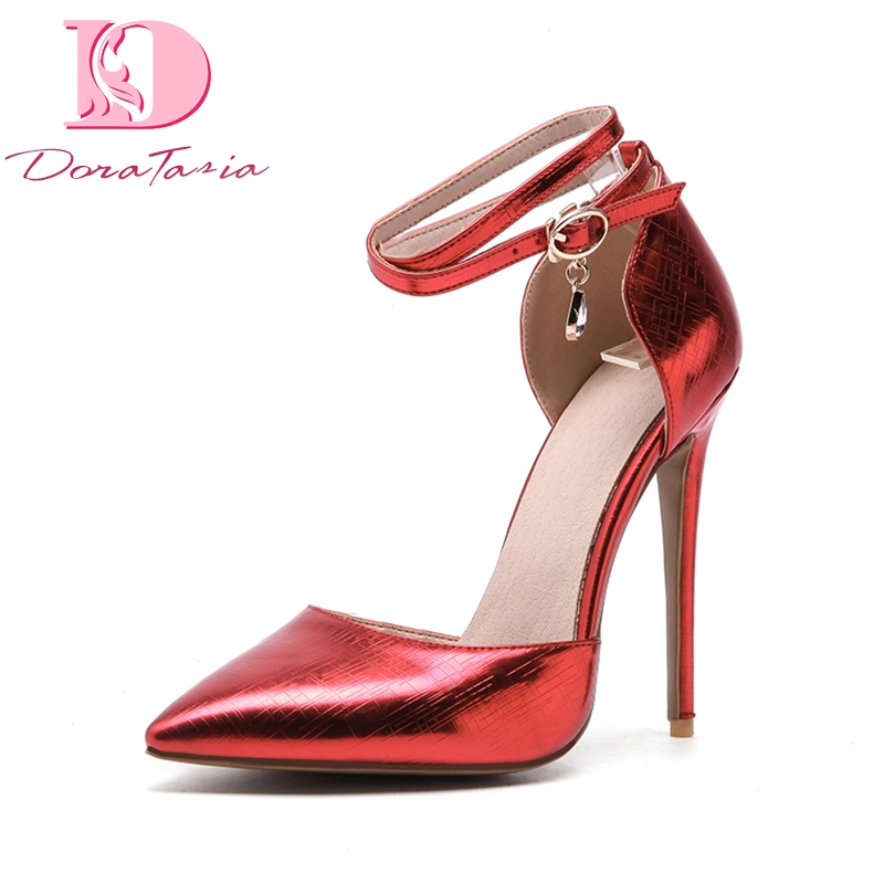 DoraTasia 2018 new large size 33-48 buckle strap women shoes pointed toe thin high Heels shoes woman pink Party wedding Pump lapolaka 2018 high quality large size 33 48 slip on thin high heels peep toe shoes woman platform party wedding pump