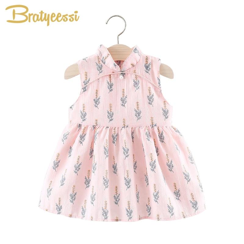 Babykleding Print.Chinese Cheongsam Baby Jurk Zomer Mouwloze Vestido Infantil Print