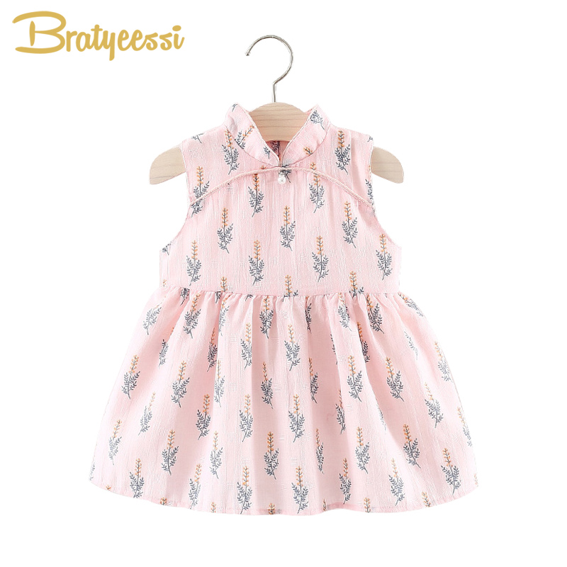 Chinese Cheongsam Baby Dress Summer Sleeveless Vestido Infantil Print Stand Collar Kids Girl Dresses Infant Clothes