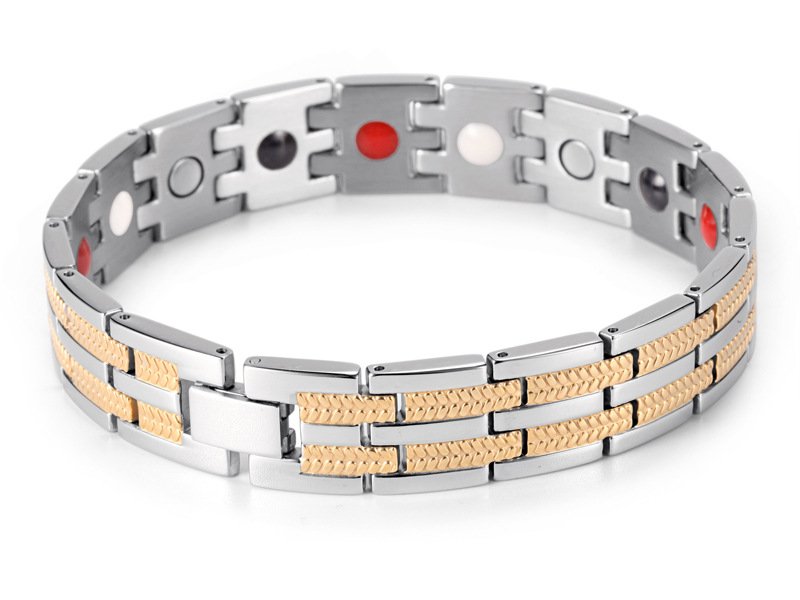 European and American Fashion Men 39 s Stainless Steel Germanium Bracelet Negative Ion Plating Stainless Steel Magnet Bracelet in Chain amp Link Bracelets from Jewelry amp Accessories