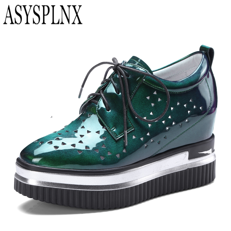 ASYSPLNX brand casual patent leather women shoes Autumn Spring lace up wedge Increase platform fashion flats shoes Breathable beffery 2018 british style patent leather flat shoes fashion thick bottom platform shoes for women lace up casual shoes a18a309