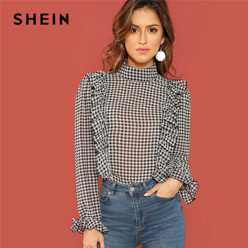 7aa095dec3b82d SHEIN Black And White Casual Ruffle Detail Mock-Neck Plaid Long Sleeve  Blouse Autumn Office