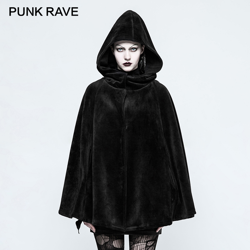 PUNK RAVE 2017 New Design Gothic Witch Female Coat Black Winter Halloween Velvet Cape with Witch