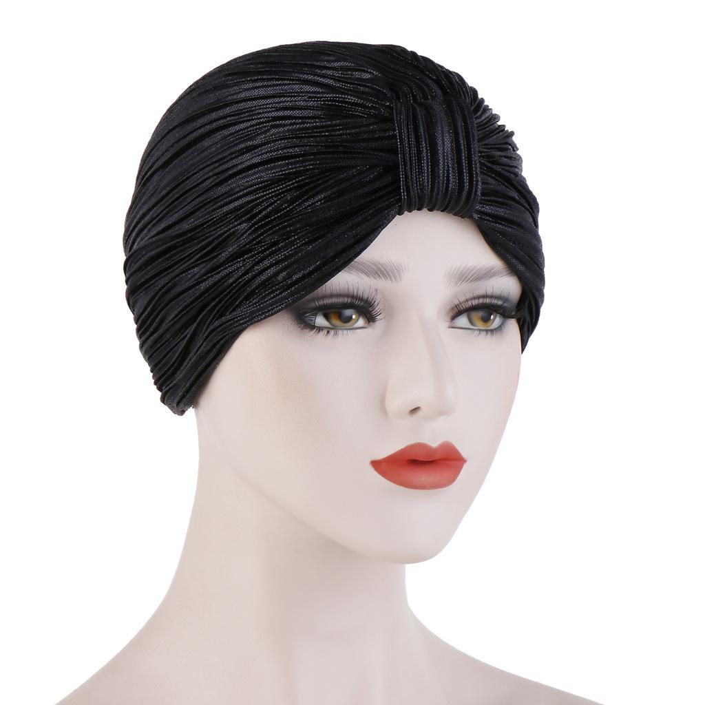 Image 5 - Индийский женский плиссированный головной шарф, шапка  мусульманский тюрбан, Chemo Turban Beanies, женские банданы, аксессуары  для волос, крышка капота, моднаяЖенские Skullies и шапочки   -