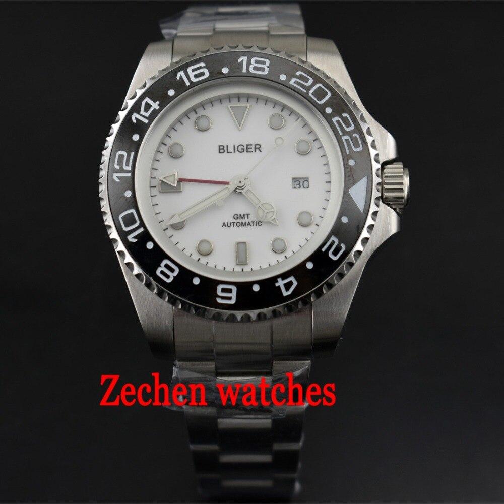43mm Bliger watch DG3804 GMT Automatic Mechanical Luminous hands Mens Watch WristWatch цена и фото