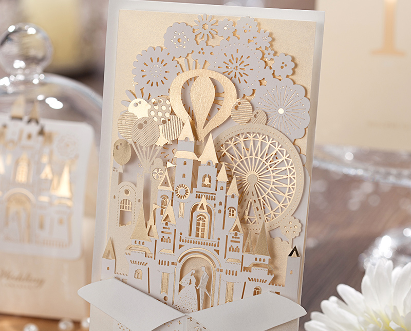 wishmade hollow love castle gold ivory white wedding invitations cards printable eingeladen verzoekt de convite invito cw5093 in cards invitations from - White And Gold Wedding Invitations