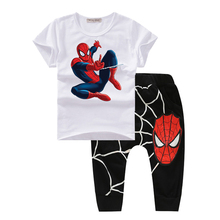 baby boy clothes spring 2017 bodysuit boutique kids clothes spiderman children clothing sets summer costume t shirt and pants T1