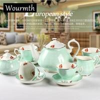 Wourmth высокого класса Европейский стиль Чай набор костяного фарфора Кофе Чашки и блюдца Керамика Кофе набор свадебный подарок