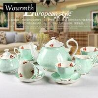 Wourmth High end European style Tea set Bone China Coffee Cups and Saucers Ceramic Coffee set Wedding Gift