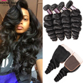 8A Brazilian Virgin Hair With Closure Brazilian Loose Wave With Closure 3PCS Loose Wave Brazilian Hair Bundles With Lace Closure